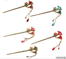 NEW Beautiful Antique Gold Tone & Diamante Beaded Flower Hair Stick, UK Seller