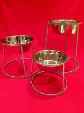"""Dog bowl with stand, raised holder for outdoor use. 9"""" stainless steel bowl"""
