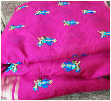 Rani Pink Chanderi Cotton Fabric By Meter Blue Tulip Embroidery Dress Material