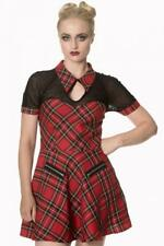 DTO. -20% ! Vestido Banned Tartan red check with lace dress alternative beauty D