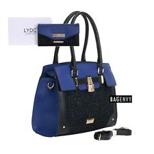 LYDC Exclusive Cobalt Blue & Black Shoulder Bag OR Purse With Metallic Tweed