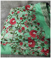 Pista Green Fabric By Meter Red Cream Floral Embroidery Dress Material Kurti