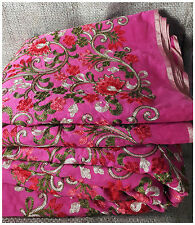 Pink Chanderi Fabric By Meter Red Cream Floral Embroidery Dress Material Kurti