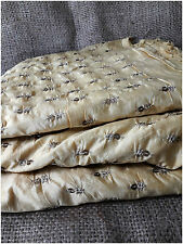 Beige Chanderi Silk Fabric by metre Gold Sequin Embroidery Dress Material Kurti