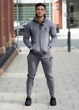 New Gym King Full Hooded Tracksuit Top & Bottoms Gym Wear Muscle Fit Steel Grey