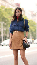 H&M Premium Trend Real Suede Leather Belt Skirt UK 6 8 10 12 14 16 18 Bloggers