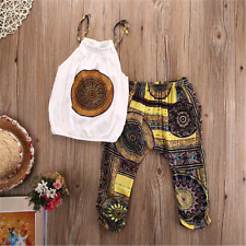 2pcs Toddler Baby Girls Chiffon Outfits Vest Tops+Pants Clothes Set