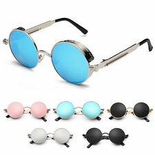 Womans Mens Gothic Retro Lens Steampunk Vintage Cyber Round Goggle Sunglasses