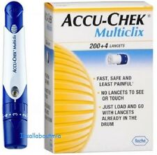 NEW Blue/White Accu Chek Multiclix Lancing Device, AST Cap & sealed 12 Lancets