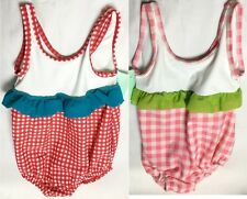 NEW Baby Girls Red Pink Gingham Chk Swimming Costume Swimsuit Age 9-12 Month A13