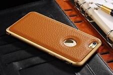 Luxury Aluminium Bumper with Genuine Leather Back Case Cover For iPhone 6/6S