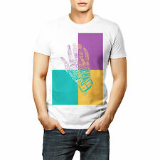 Designer Multi Color Hand Quote Printed T shirt Sports Wear White Round Neck