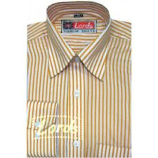 Men's Yellow and White Striped Formal Shirt - Polyester Cotton Blended
