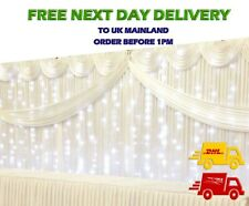 White Ice Silk BACKDROP Wedding Drape Stage + LED Fairy Lights + Detachable SWAG