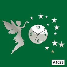 Angel Stars Art Acrylic Wall clock and sticker -LaserCraftStore-A1023