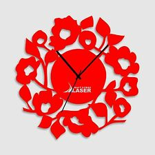 Elegant Flower Designer Red Wall Clock -LaserCraftStore-A1004-Multi color