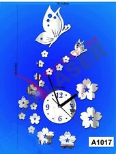 Butterfly n Flowers Design 3D Mirror 20pcs DIY Wall Clock -LCS-A1017 Multi color