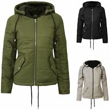 New Womens Hooded Zip Up Quilted Cropped Padded Puffa Jacket Coat