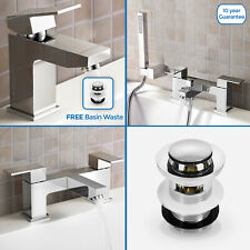 RALDO BATHROOM CHROME MODERN SQUARE BASIN MIXER BATH FILLER SHOWER TAPS