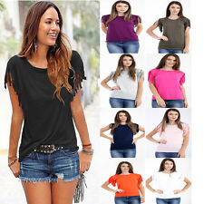 Fashion Women Ladies Summer Loose Top Short Sleeve Blouse Casual Tops T-Shirt UK