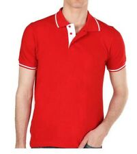 MEN'S T SHIRTS POLYESTER COTTON BLEND KNIT RED WITH WHITE TRIMMING