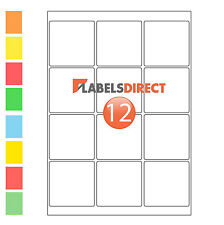 Premium 65mm Square A4 Labels 12 per Sheet Sticky Self Adhesive Printer Labels