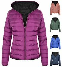 New Womens Reversible Hooded Puffa Zip Up Quilted Padded Warm Jacket Coat