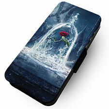 Frosty Beast Rose - Faux Leather Flip Phone Cover Case- #2 Beauty Disney Movie