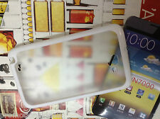 White Rubber Bumper Transparent Back Case For Samsung Galaxy Note N7000 i9220
