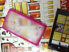 Luxury Pink Rubber Bumper Transparent Hard Back Case Cover For Nokia Lumia 520