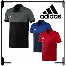 adidas 3 Stripe Mens T16 Sports Polo Shirt Climacool Running Gym T-Shirt Top