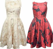 ex Quiz Floral Satin 50s Style Skater Prom Dress Gold or Black/Red Wedding 8-18