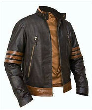 Black Brown Wolverine Biker Custom Designer Motorcycle Leather Jacket for Men