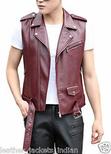 HugMe.fashion Genuine Sheep Leather Waistcoat in Brown and Maroon Color WC02