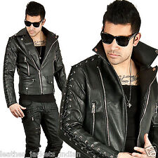Men's New Stylish  Zig Zag Motercycle  Contrast Zig Zag Stich Leather Jacket