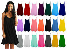 Womens Plain Cami Vest Top Camisole Strappy Sleeveless Flared Mini Swing Dress