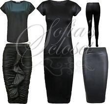Ladies Black Leatherette Wet Look Midi Dress Skirt Ruffle Ruched Leggings Celeb