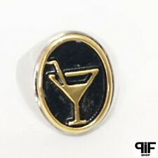 ANELLO 100% ACCIAIO STEEL+++ RING ANILLO ANNEAU MOD. DRINK GOLD PIFJEWELS A147