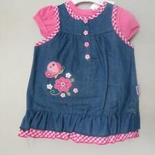 Baby Girls denim pinafore butterfly embroidered and pink top set