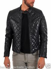 Men's Genuine Leather Jacket In Hollywood Style In Black Quiletd Jacket