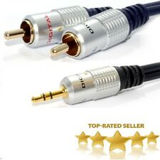 Premium 3.5mm stereo male To 2RCA male Jack Audio OFC Cable MP3 New X