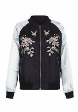 Ex New Look Long Sleeve Floral Embroidered Contrast Satin Bomber Jacket 6-18