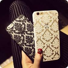 Vintage Rubberized Damask Hard Back Case With Tempered Glass For iPhone Models