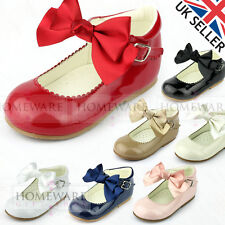 GIRLS BABYS SPANISH STYLE BOW SHOES MARY JANE PATENT RED PINK CAMEL BLACK WHITE