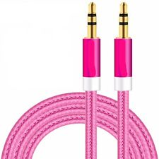 CABLE DOBLE JACK AUDIO MACHO MACHO ESTEREO DE 3.5 mm ROSA HUAWEI