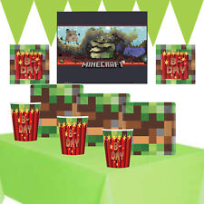 Pixel TNT Party Kit 1 For 8 to 16 Children   Minecraft Poster   Party Tableware
