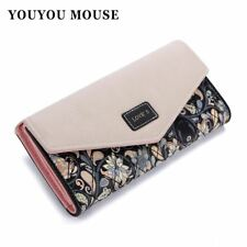 Envelope Women Wallet Hit Color 3Fold Flowers Printing 5Colors PU Leather Wallet