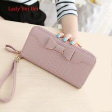 Women Lady Long Wallets Purse Female Candy Color Bow PU Leather Carteira Feminin