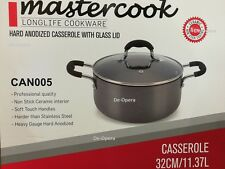 New Mastercook Hard Anodized Casserole with Glass Lid Pots Pan Non stick
