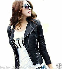 Women-Leather-Jacket-Black-Quilted-Biker-Motorcycle- new jacket for sexxy